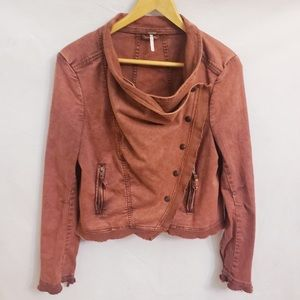 Free People Orange Collapsing Raw Hem Jacket